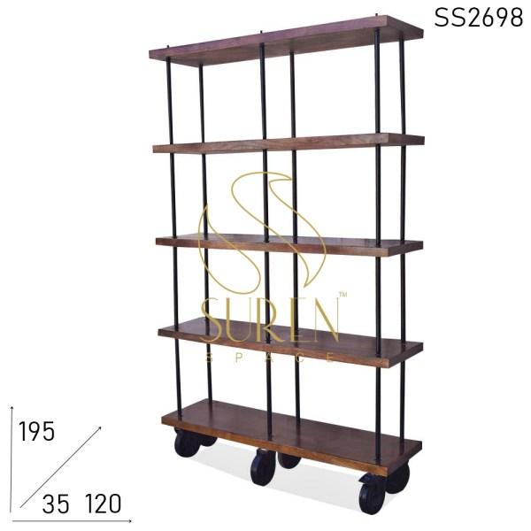 SS2698 Suren Space Wheel Base Solid Wood Struttura in metallo Libreria aperta