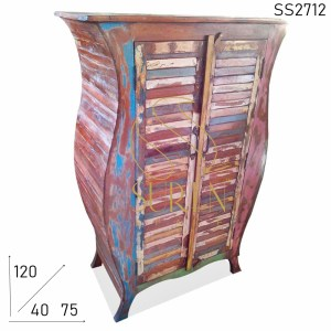 SS2712 Suren Space Reclaimed Wood Shutter Pattern Curved Cabinet Design