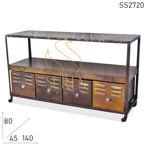 SS2720 Suren Space Metal Four Drawer Industrial Rustic Finish Console Table