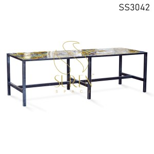 Colorful Tiles Outdoor Rectangle Dining Table