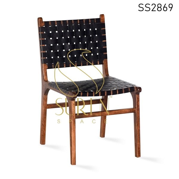 Grey Leather Natural Acacia Wood Dining Chair
