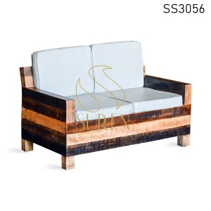 Indian Mango Rough Wood Leatherette Two Seater Sofa