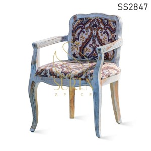 Lux Design Carved Wood Fabric Dining Chair