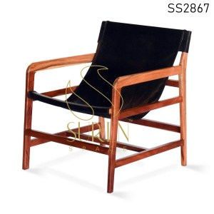 Solid Acacia Wood Genuine Leather Rest Chair