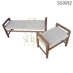 Solid Wood Natural Finish Rope Design Benches