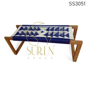 Solid Wood Rope Two Shade Rope Bench