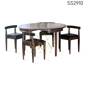 Solid Wood Round Shape Four Seater Dining Set