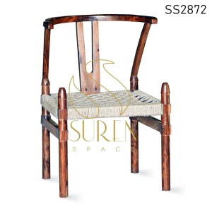 Solid Wood Walnut Finish Rop Seating Dining Chair