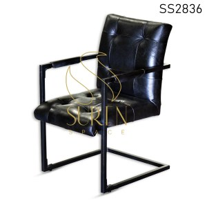 Tufted Goat Leather Metal Frame Study Cum Dining Chair