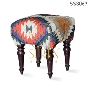 Indian Hand Loom Fabric Wooden Leg Stool Pouf