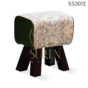 Indian Printed Fabric Solid Wood Pouf Ottoman Design