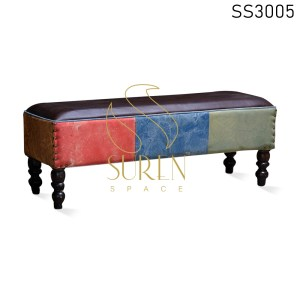 Multicolored Long Upholstered Pouf Design