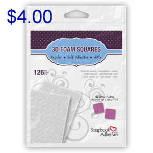 Sure Scraps a Lot 3D Foam Squares White Crafting Supplies