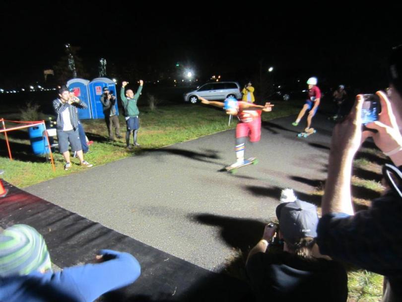 Steven crossing the finish line