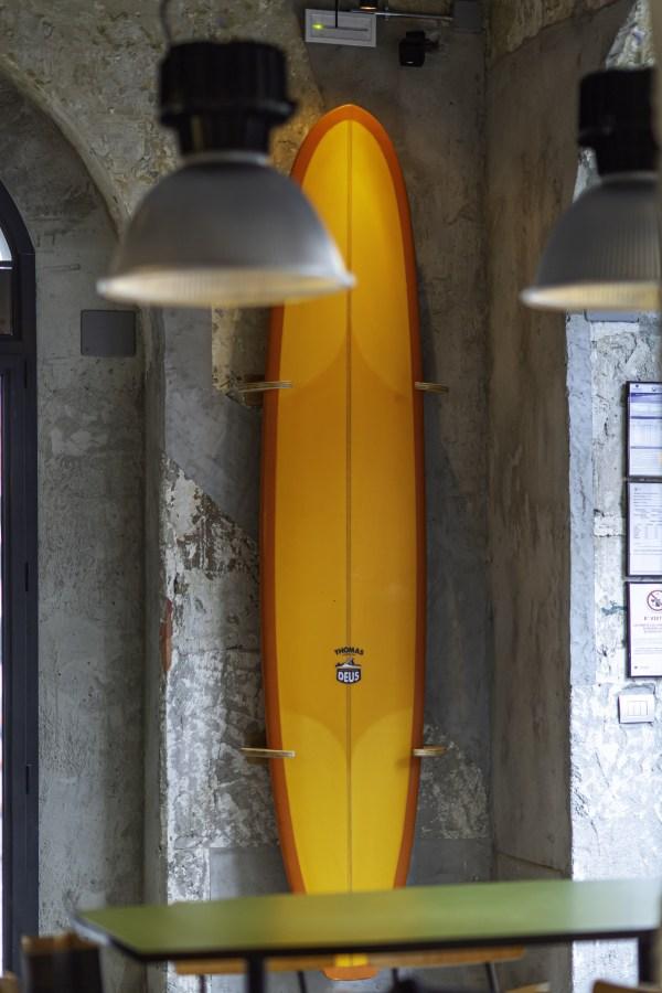 Vertical surf rack at Deus shop