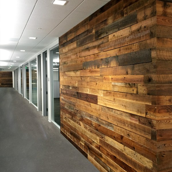 Reclaimed Brown Board Wall