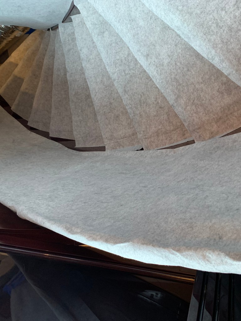 Non-slip protected stairs on yacht
