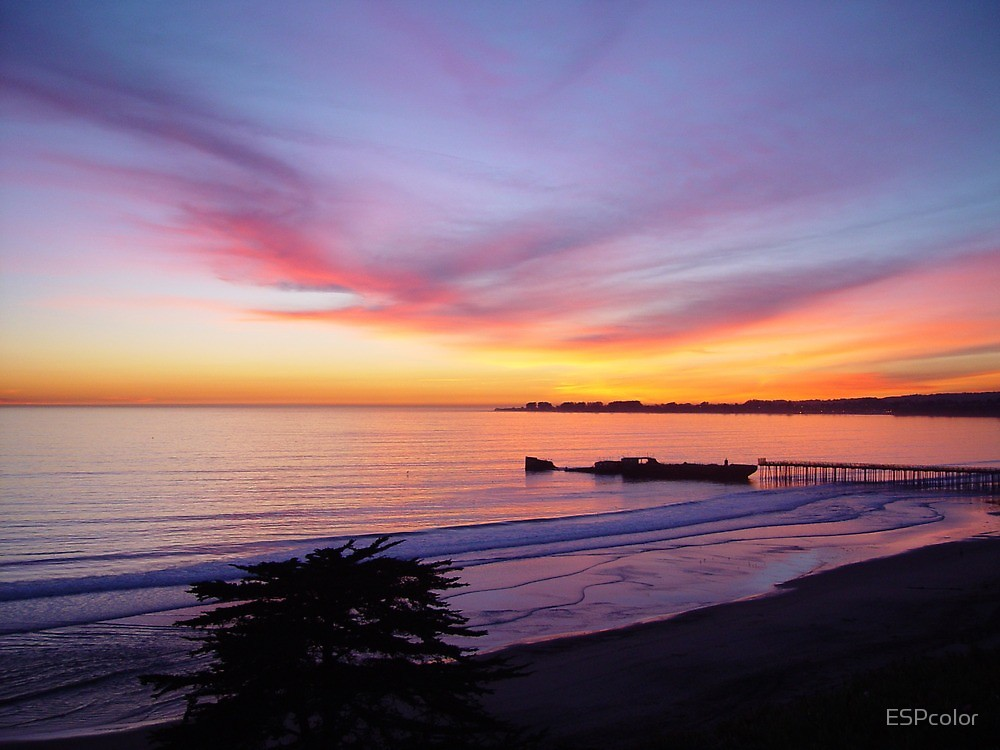 Aptos California beach at sunset, perfect time to get in a hot tub