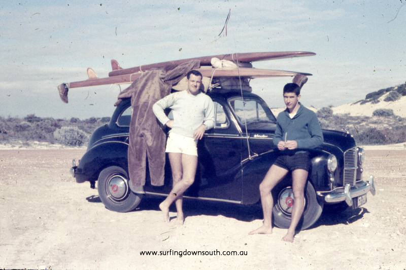 1957 Mandurah Miami Ian Scott & Brian Cole with Austin A40, wooden surfboards & WW2 flying suit - JB pic img586