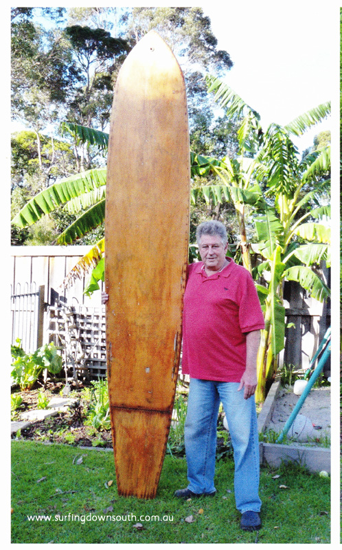2012 James 'Lik' Mackenzie with 1958 Marine Ply hollow surfboard - Lik IMG_0009