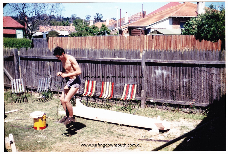 1958 Subiaco Bob Keenan on pogo stick shaping balsa blank from Boans - B KeenanA