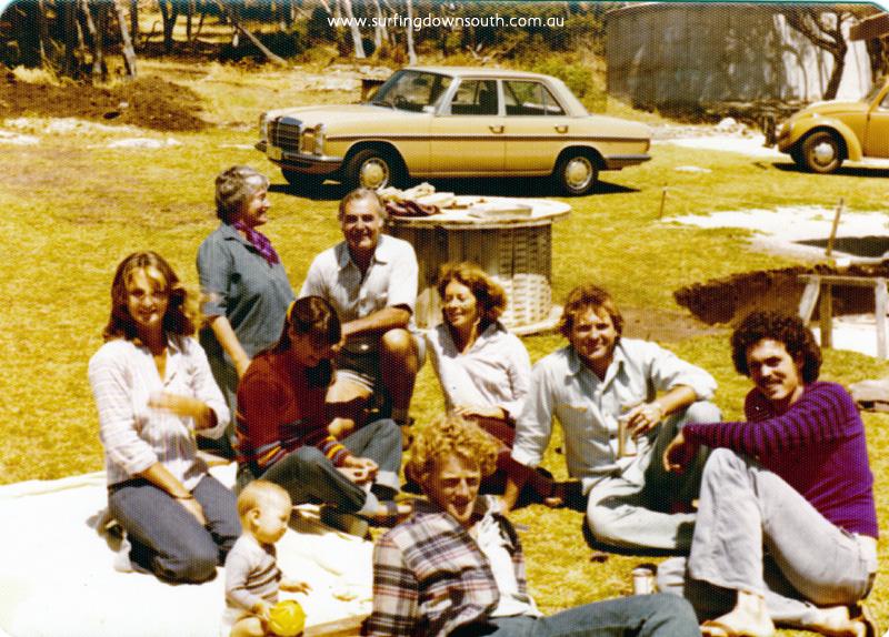 1975 Yalls Peter Dyson's place Back row Jan Dyson, Anne Dyson, Sue Nicholson, Ken Dyson, Vicki Jago & Peter Dyson, Front row Sklya Dyson, Rex Biddle, & John Molloy - Andy Jones pic_0008