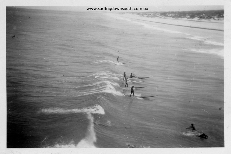 1956 City Beach surfing R Geary, N Chapple, K Kino, T Harbison & M Whittone - Ray Geary
