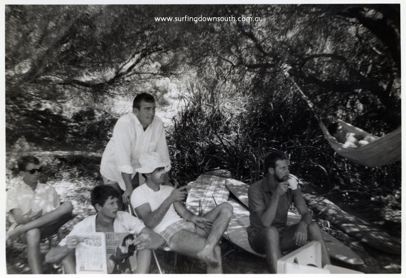 1964 Cowaramup Bay camp site John Murphy, unknown, Joe Wilson, (standing), Bruce Brown, unknown, Peter Backhouse (hammock) - Arty Sherburn pic img183