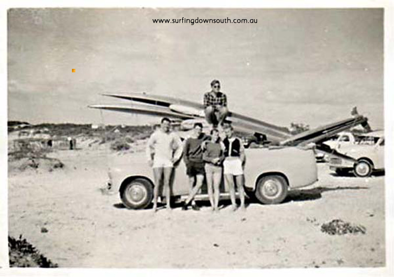 1958 Miami City Beach crew Ian Scott, Colin Moore, Sue Rankin, John Budge & Owen Oates on roof FX Holden ute B Cole picA