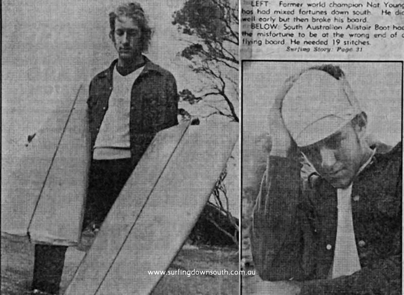 1969 Aust Titles WA - Nat Young (NSW) & Ali Boot (SA) injuries - WA News (1)