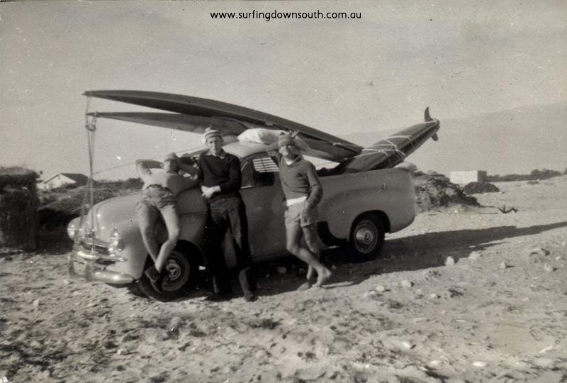 1958 Miami Bay Owen Oates, Ken Hamer & Brian Cole. Owen's FJ Holden ute - John Budge pic img361