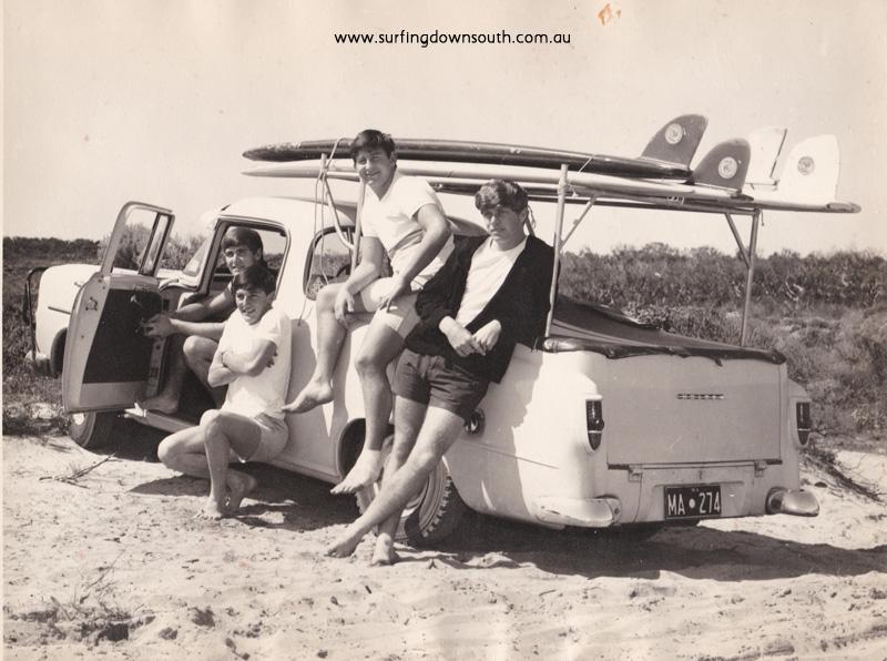 1964 Avalon Pt SSBC John Tagney, Jock Lawrie, Allan 'Chubby' Stiles, Lance Patterson. Jacko boards, Jocks ute Lance Patterson IMG_01