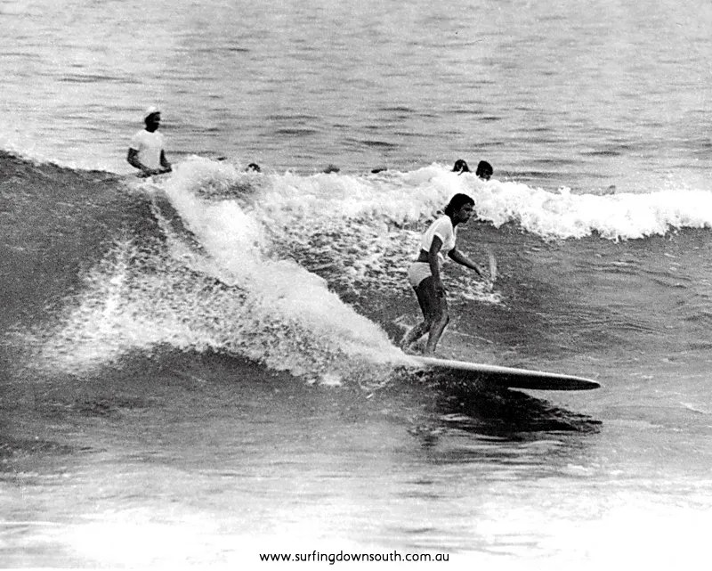 1965 Yalls Tina Christon surfing State Titles- Len Dibben pic