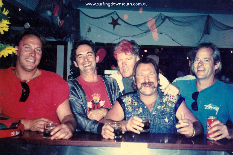 1990s Yalls Surfside L-R Peter Clauson, Peter Kidd, Peter Shearer, Peter Dyson & Peter Davies - P Dyson pic IMG_03