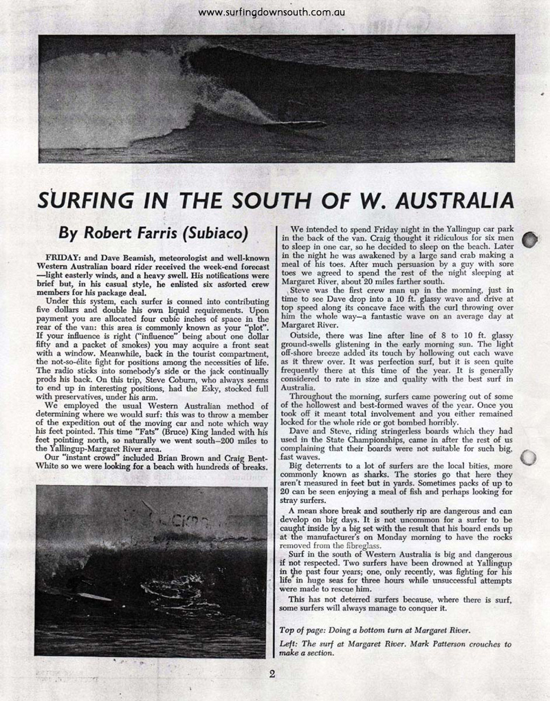1966 Rob Farris SW Surf article Bankwest Gazette1