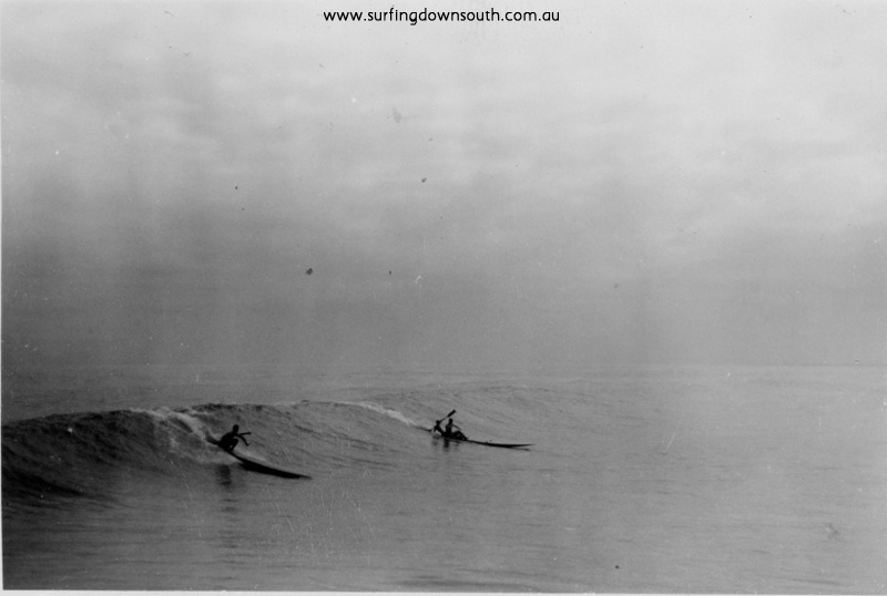 1956 City Beach Dave Williams toothpick board and Jim Keenan & Cocko Killen on double ski - Ray Geary1