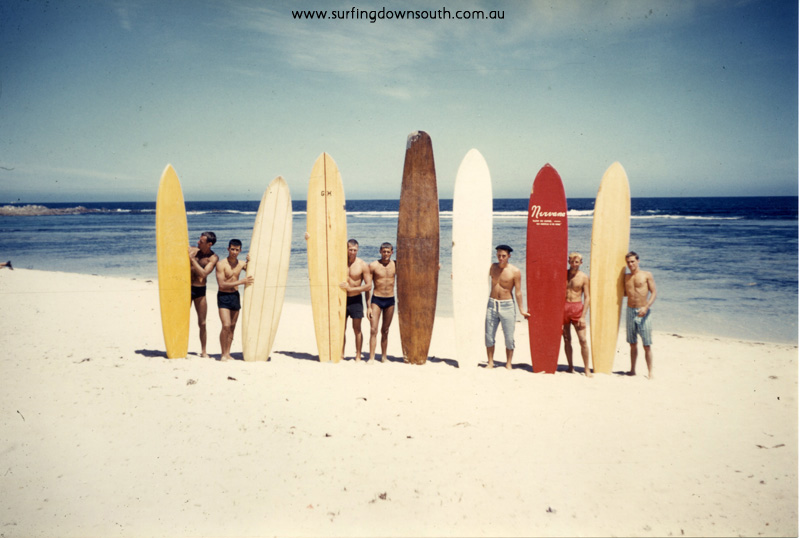 1959 Yalls beach boys & boards Ray Nelmes, Brian Cole, Jim Keenan, Des Gaines, Laurie Burke, John Budge, Artie Taylor - Brian Cole pic