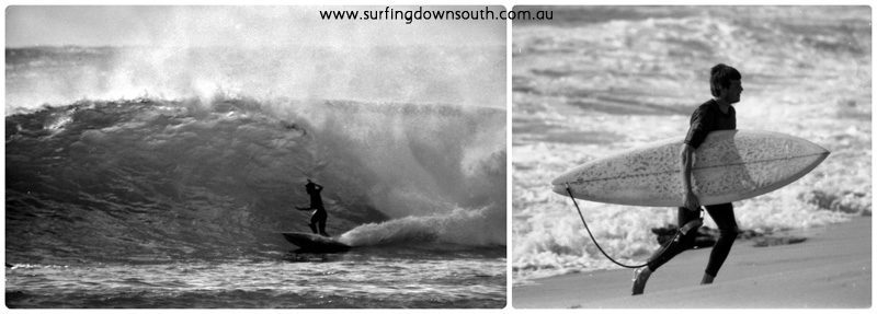 1976 Al Fixter & Sunrise surfboard at Injidup collage_photocat