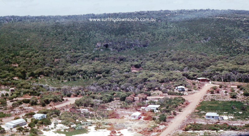 1970 Marg River Prevelly North End shack in foreground aerial view - Jim Breadsell pic