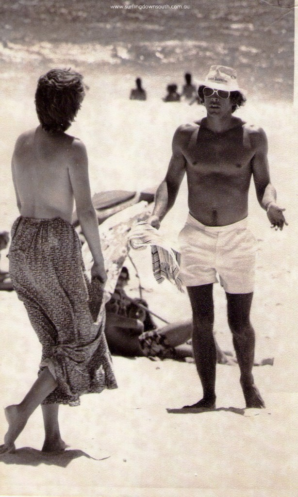 1973-74 CB Beach Inspector John Harbo herding topless girl off beach