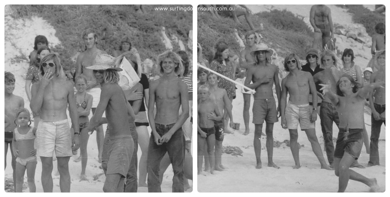 1970s Surfin Surfari Trigg Broom throwing comp - Kirk Boonga Ball Ric Chan 1 collage