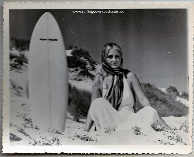 1960s Trigg Jan Bevan modelling with Nipper Williams surfboard 1 - PD pic IMG_0004