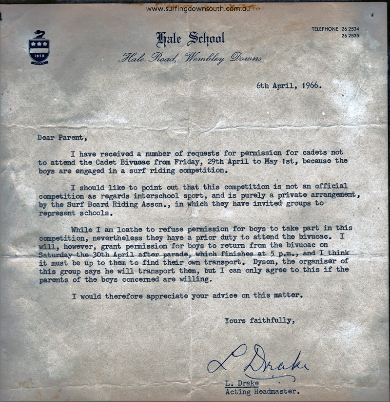 1966 Hale School letter from headmaster - PD image IMG_0006