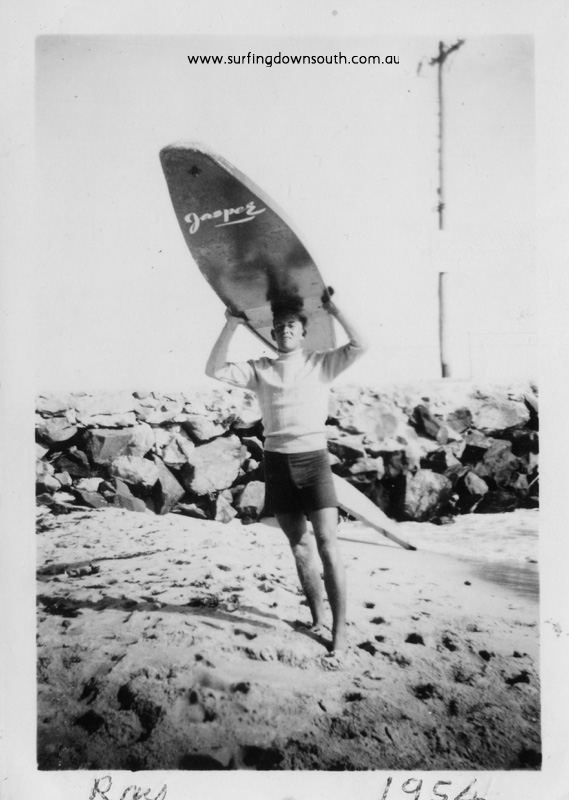 1954 City Beach R Geary with Jasper surfboard - Ray Geary