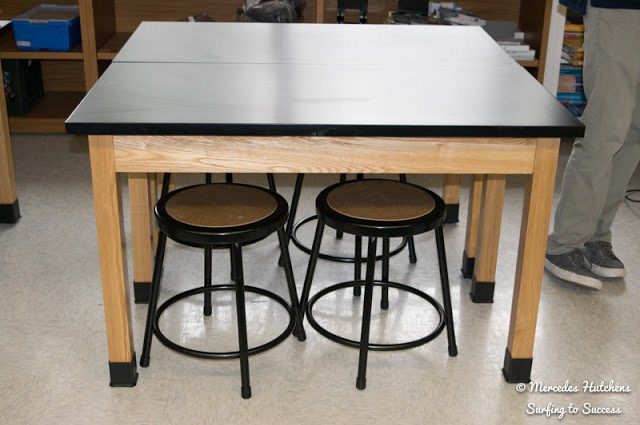 Tables and stools work well for projects and collaboration.