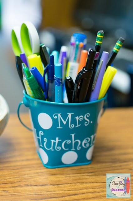 Polka Dots and Name on a Bucket for Pens