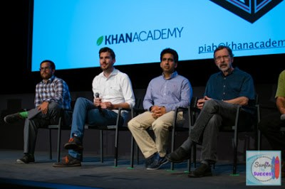 Brit Cruise, James Tynan, Sal Khan, and Ed Catmull answering questions about Pixar in a Box by Pixar and Khan Academy.
