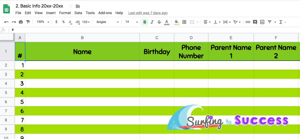 Google Sheet Basic Info for Teacher