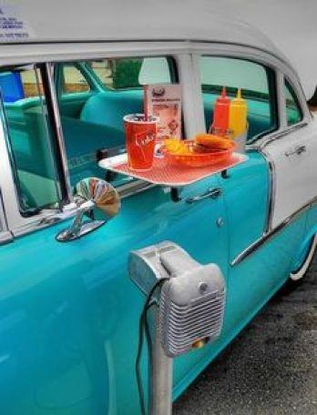 food tray on car door