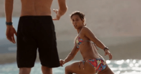 Sally Fitzgibbons Wadi Adventure Wave Pool Project Poolside   Stetching with Dan Ross